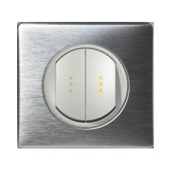 Legrand Céliane - Double Va et Vient à voyant lumineux - Ensemble Aluminium complet - réf: A020