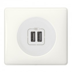 Legrand Céliane - Prise double chargeur USB - Ensemble Blanc complet - Réf : FF010