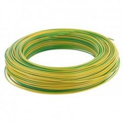 Fil H07 V-U (Rigide) 1,5 mm² - Couronne 100 m - Vert/jaune - Réf : 000105