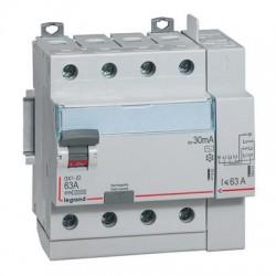 Legrand - Interrupteur différentiel DX³-ID arrivée haut à vis et départ haut auto - 4P 400V~ 63A AC 30mA - 5 m - Réf : 411653
