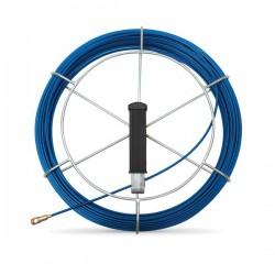 Tire fil en fibre de verre de 30m bleu Ø3mm à embout interchangeable + dévidoir - Réf : 439143