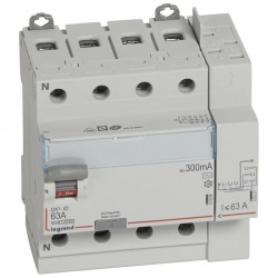 Legrand - Inter diff DX³-ID arrivée haut à vis et départ haut automatique - 4P 400V~ 63A typeAC 300mA - 5M - Réf : 411655