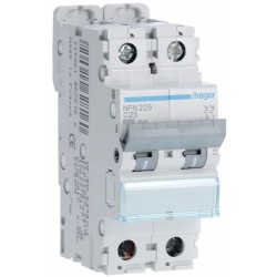 Hager - Disjoncteur 2P 6-10kA courbe C - 25A 2 modules - Réf : NFN225