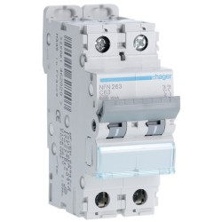 Hager - Disjoncteur 2P 6-10kA courbe C - 63A 2 modules - Réf : NFN263