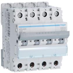 Hager - Disjoncteur 4P 6-10kA courbe C - 20A 4 modules - Réf : NFN420