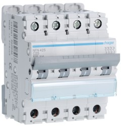 Hager - Disjoncteur 4P 6-10kA courbe C - 25A 4 modules - Réf : NFN425