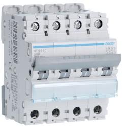 Hager - Disjoncteur 4P 6-10kA courbe C - 40A 4 modules - Réf : NFN440