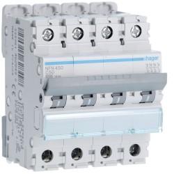 Hager - Disjoncteur 4P 6-10kA courbe C - 50A 4 modules - Réf : NFN450