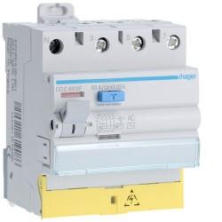 Hager - Interrupteur différentiel 3P+N 63A 30mA type AC à bornes décalées - Réf : CDC863F