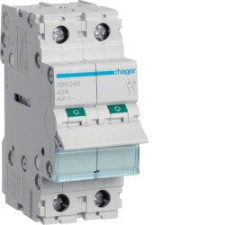 Hager - Interrupteur modulaire 2 pôles 40A - Réf : SBN240