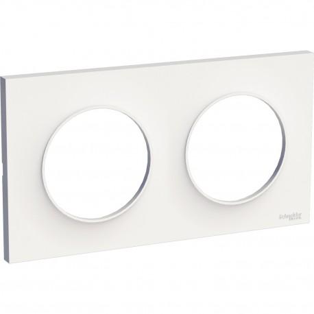 Schneider - Odace Styl, Plaque Blanc 2 Postes Horizontaux Ou Verticaux Entraxe 71Mm - Réf : S520704