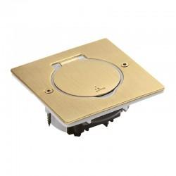 Legrand - Platine de sol carrée à équiper de mécanisme Mosaic 1 poste – doré brossé - Réf : 089710