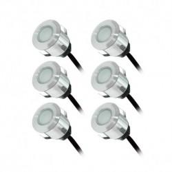 Vision-EL - Kit spot LED terrasse 6 x 0,6W 12v 4000°k rond IP67 + alim 230V - Réf : 70751