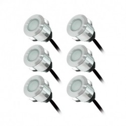 Vision-EL - Kit spot LED terrasse 6 x 0,6W 12v 6000°k rond IP67 + alim 230V - Réf : 70752