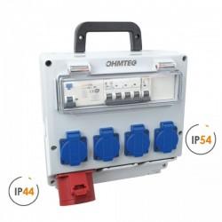 Ohmtec - Coffret d'atelier monophase & triphasé 4 prises 16A 230V et 1 prise 32A 400V - Réf : 423301