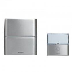 Legrand - Kit carillon radio sans fil Sérénité simple à piles - aluminium -Réf : 094271