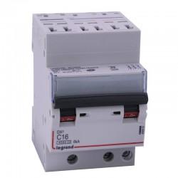 Legrand - Disjoncteur DX³ 4500 - auto/vis - 3P - 400 V~ - 16A - 6kA - courbe C - 1 module - Réf : 406901