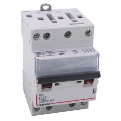 Legrand - Disjoncteur DX³ 4500 - vis/vis - 4P - 400 V~ - 32A - 6kA - courbe C - 3 modules - Réf : 406913