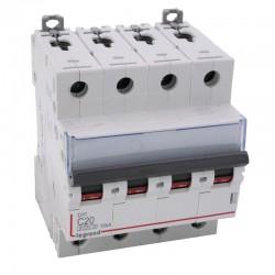 Legrand - Disjoncteur DX³ 6000 -vis/vis- 4P- 400V~-20A-courbeC-peigne HX³ trad 4P - 4M - Réf : 407899