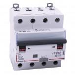 Legrand - Disjoncteur diff DX³ 6000 - vis/vis - 4P 400V~ - 32A - type AC 300mA - courbe C - 4 mod - Réf : 411208