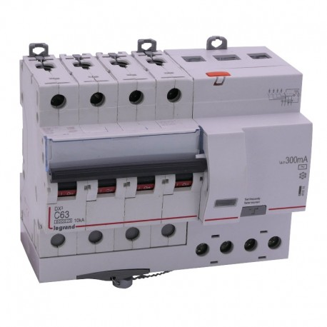 Legrand - Disjoncteur diff DX³ 6000 - vis/vis - 4P- 400V~ - 63A - typeAC 300mA - courbe C - 7 mod - Réf : 411211