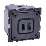 Legrand - Chargeur double USB Céliane typeC 3A - Réf : 067466