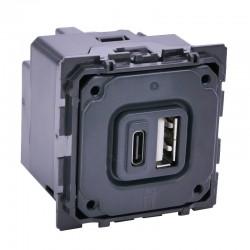 Legrand - Chargeur double USB Céliane typeA et typeC 3A - Réf : 067465