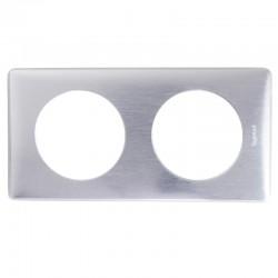 Legrand - Plaque Céliane - Métal - 2 postes - Aluminium - Réf : 068922