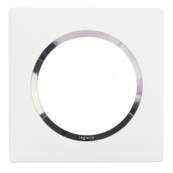 Legrand - Plaque carrée dooxie 1 poste finition blanc avec bague effet chrome - Réf : 600841