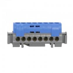 Legrand - Bornier de répartition IP 2X - neutre - 8 connexions 1,5 à 16 mm² -bleu- L 75 mm - Réf : 004842
