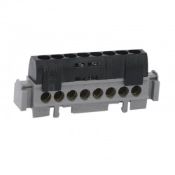 Legrand - Bornier de répartition IP 2X - phase - 8 connexions 1,5 à 16 mm²- noir- L 75 mm - Réf : 004852