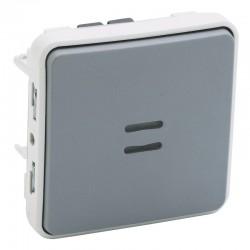 Legrand - Interrupteur ou va-et-vient lumineux Plexo composable IP55 10AX 250V - gris - Réf : 069513