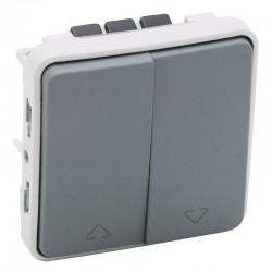 Legrand - Double interrupteur ou va-et-vient pour volets roulants Plexo composable IP55 10A 250V - gris - Réf :069538