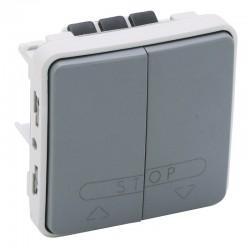 Legrand - Double poussoir pour volets roulants Plexo composable IP55 10A 250V - gris- Réf :069539