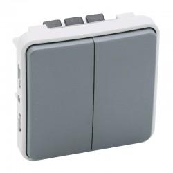 Legrand - Double poussoir NO+NF Plexo composable IP55 10A - gris - Réf : 069545