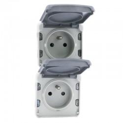Legrand - Double prise de courant 2P+T précâblées à la verticale Plexo composable IP55 16A 250V - gris - Réf : 069563