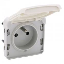Legrand - Prise de courant 2P+T avec éclips de protection Plexo composable IP55 16A 250V - blanc - Réf : 069621