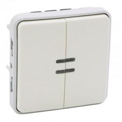 Legrand - Double interrupteur ou va-et-vient lumineux Plexo composable IP55 10AX 250V - blanc- Réf : 069626