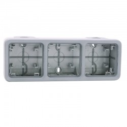 Legrand - Boîtier à embouts 3 postes horizontaux Plexo composable IP55 - gris - Réf : 069680