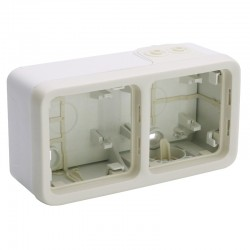 Legrand - Boîtier à embouts 2 postes horizontaux Plexo composable IP55 - blanc - Réf : 069690