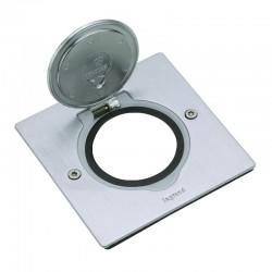 Legrand - Platine de sol carrée à équiper de mécanisme Mosaic 1 poste – inox brossé - Réf : 089700