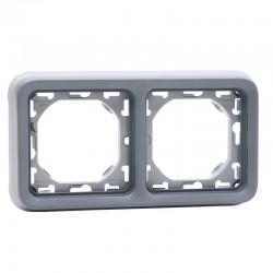 Legrand - Support plaque 2 postes horizontaux Plexo composable IP55 - gris - Réf : 069683