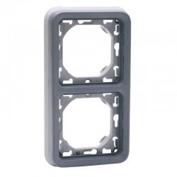 Legrand - Support plaque 2 postes verticaux Plexo composable IP55 - gris - Réf : 069685