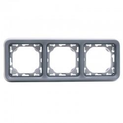 Legrand - Support plaque 3 postes horizontaux Plexo composable IP55 - gris - Réf : 069687