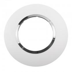 Legrand - Plaque ronde dooxie 1 poste finition blanc avec bague effet chrome - Réf : 600973
