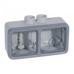 Legrand - Boîtier presse-étoupe Prog Plexo composable gris - 2 postes horizontaux - PG 16 - Réf : 069674