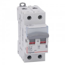 Legrand - Interrupteur-sectionneur DX³-IS - 2P 400 V~ - 63 A - 2 modules - Réf : 406441