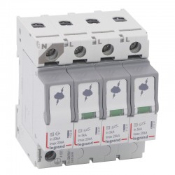 Legrand - Parafoudre basse tension T2- Imax 20 kA/pôle- 3P+N- 320 VA- 4 modules - Réf : 412225