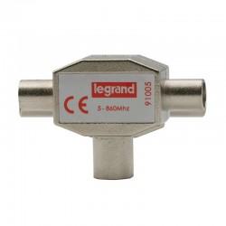Legrand - Répartiteur télévision blindé 1 entrée femelle 2 sorties mâles Ø9,52mm - Réf : 091005