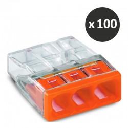Wago - Bornes pour boîtes de dérivation COMPACT, 3 conducteurs - Réf : 2273-203(100)